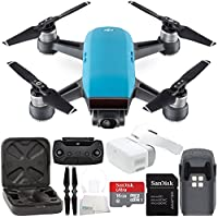 DJI Spark Portable Mini Drone Quadcopter + DJI Goggles Virtual Reality VR FPV POV Experience Starters Bundle (Sky Blue)