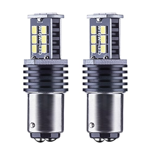 Rayhoo 2pcs 800 Lumens Super Bright BAY15D 1157 Base Super Bright 2835 PX Chipsets WhiteLED Bulbs used for turn signal lights ,tail lights (1157 Base)
