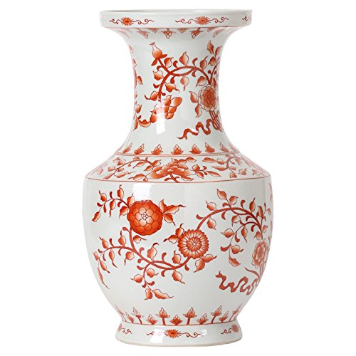 - Kathy Kuo Home Empress Global Orange Floral Ribbon Wide Neck Hand Painted Vase