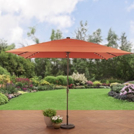 Better Homes and Gardens. 8 x 11 ft. Rectangular Aluminum Market Solar Lighted Patio Umbrella - Tuscan