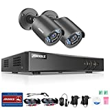 ANNKE 8CH 1080P Lite 5 IN 1 TVI Security DVR Recorder and (2) HD 1.0MP 720P Outdoor CCTV Surveillance Cameras, IP66 Weatherproof Housing, Super Night Vision, Motion Detection, NO Hard Disk Drive