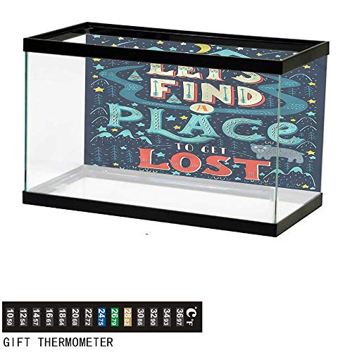bybyhome Fish Tank Backdrop Adventure,Lets Get Lost Phrase,Aquarium Background,48