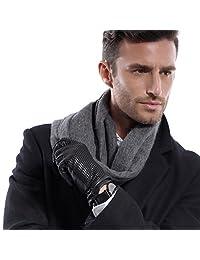 MATSU Classic Plaid Men Simple Winter Warm Lambskin Wool Lined Gloves M634