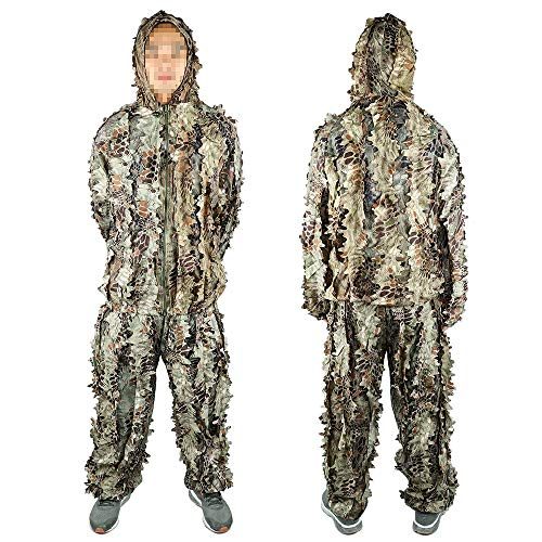 Boknight Ghillie Suit, Military Desert Camo Suit,Hunting and Shooting Forest Woodland Tactical Camouflage Clothing, Fit for CS 3D Game, Halloween or Christmas (Lightweight Style)