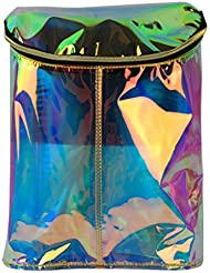 Retro Barrel Type Womens Pu Leather Hologram Rainbow Transparent Backpack