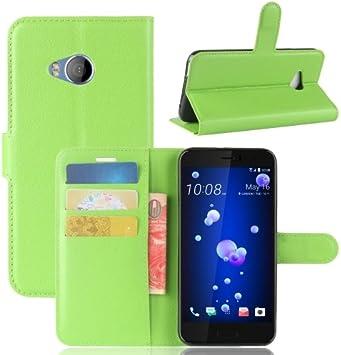 alsatek Funda con Tapa de Piel para HTC U11 Life Verde: Amazon.es: Electrónica