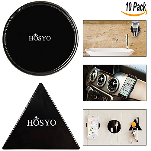 Sticky GeL Pads, HOSYO Premium Cell Pads Anti-Slip Fixate Gel Pads, can Stick to Metal, Kitchen Cabinets Glass, Mirrors, Whiteboards or Tile, Car GPS, Reusable, Washable, Durable(5 Round + 5 Triangle)