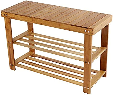 Amazoncom Jawm Bamboo Storage Stool Solid Wood Shoe Bench Rack