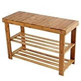 2 Tier Natural Bamboo Shoe Rack Organizer and Foot Stool with Storage Drawer on Top (Natural)