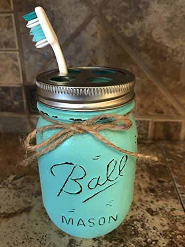 Lodge Toilet Brush - Toothbrush Holder Mason Canning JAR Hand PAINTED & Distressed Ball Pint ~ Stainless Steel Silver ~ Bathroom Decor ~Gray Grey Seafoam Light Blue Turquoise Pewter Green Cream Tan Brown Yellow