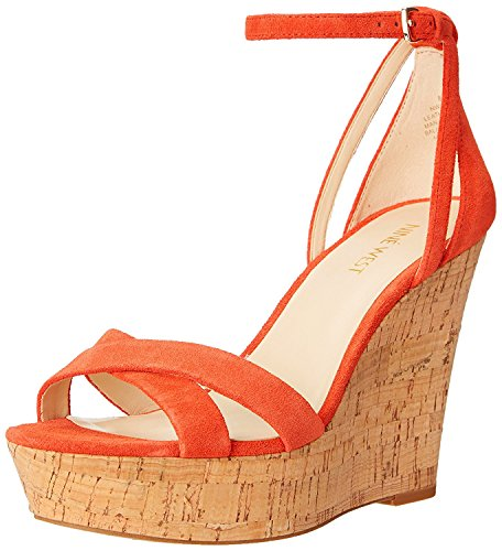 Nine West WomenS Joker Suede Wedge Sandal, Red/Orange, 41 B(M) EU/8 B(M) UK