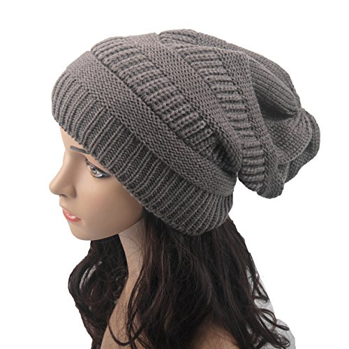 Sunnyhu Knitted Hat Soft Strech Slouchy Beanie (Dark Grey)