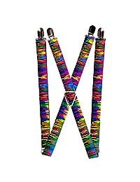 Bright Coloful Rainbow Paint Splatter Dripping Suspenders
