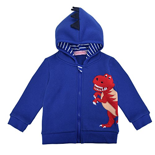 Little Boys' Shark Dinosaur Character Costume Fleece Hoodie Jacket (7T, Royal Blue(Fleece One))