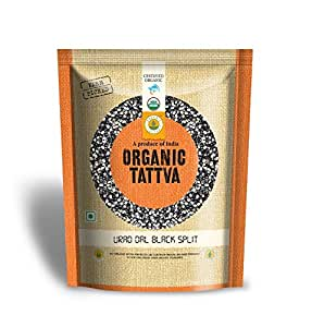 Organic Tattva (Urad Dal Chilka) Black Split Lentils, 500g Certified By USDA Organic