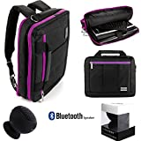 El Prado 3 in 1 Carry-On CrossBody Bag, Backpack and Briefcase - Purple Trim [LRG] For 14 to 15.6 inch Laptop Notebook Ultrabook Convertible Computers + Black Bluetooth Suction Speaker