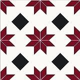FloorPops FP2482 Orion Peel & Stick Tiles Floor Decal, Red