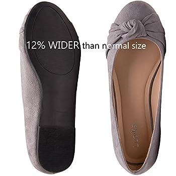 Women's Wide Width Flat Shoes - Comfortable Slip On Round Toe Ballet Flats. (Mc Grey 180303,8.5ww) 3