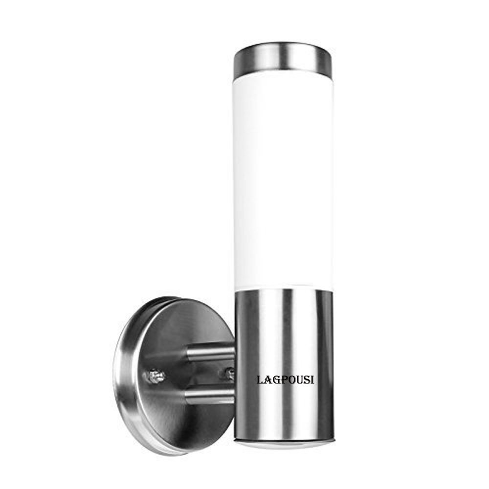 LAGPOUSI LED Wall Light, Waterproof Stainless Steel E26 LED Wall Light Indoor/Outdoor Cylinder IP65 Wall Lamp Lighting AC85~265V (Bullet Bulb Included, White 5500K)