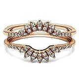 BB Jewels 14k Rose Gold Over 1/4Ct Diamond Contoured Wedding Ring Jacket Enhancer Band (9.5)