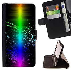 - Colorful Wave Color Splash/ Personalizada del estilo del dise???¡¯???¡Ào de la PU Caso de encargo del cuero del tir???¡¯????n del s - Cao - For Samsung