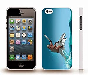 iStar Cases? iPhone 5/5S Case with Bear Riding a Shark, Funny Design, Grizzly Bear with Helmet and Sword, Riding a Shark , Snap-on Cover, Hard Carrying Case (White)