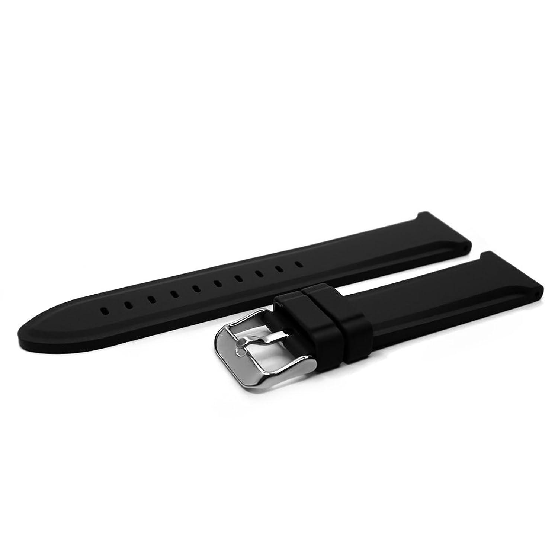 シリコンバンドストラップ、YQIブラックソフトゴム腕時計ストラップ18 mm 20 mm 22 mm 18mm ブラック 18mm   B078DL2DM2