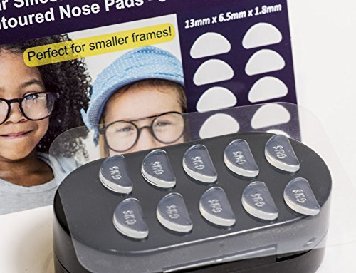 Gms Optical® 1.8mm x 13mm Short Anti-Slip Adhesive Contoured Silicone Eyeglass Nose Pads - Perfect for Kids Glasses and Smaller Frames - 5 Pair ()