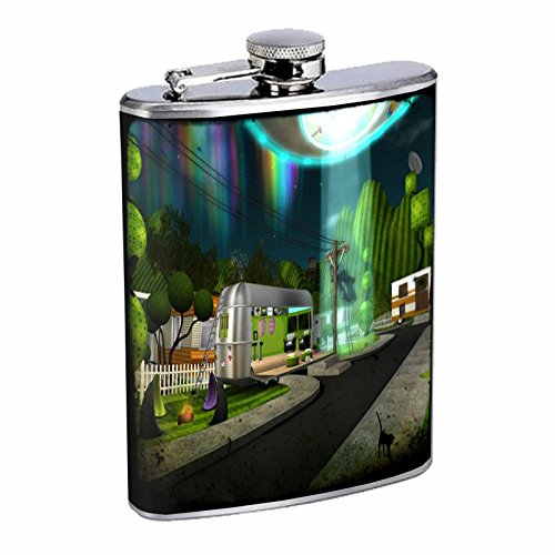 Stainless Steel 8oz Hip Silver Flask Retro Alien Abduction S5 Space Ship UFO Invaders Paranormal by American Empire