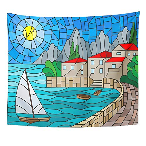 Emvency Tapestry Wall Hanging The in Stained Glass Painting with Sailboat on of Bay with City Sea and Sun Day 50