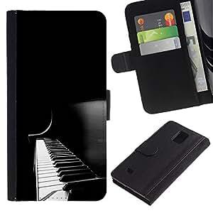 """Samsung Galaxy Note 4 IV / SM-N910 , la tarjeta de Crédito Slots PU Funda de cuero Monedero caso cubierta de piel ("""" Piano Keys Black White Music Instrument"""")"""
