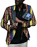 Pivaconis Men Africa Print One Button Long Sleeve Suit Blazer Coat 7 S