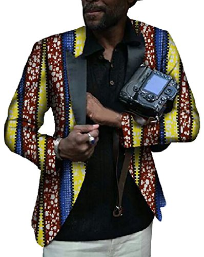 Pivaconis Men Africa Print One Button Long Sleeve Suit Blazer Coat 7 S by Pivaconis
