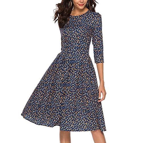 Photno Women's Printed Dress Fashion 3/4 Sleeve Sleeve Round Neck Slim Retro Party Evening Dress Navy