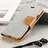 Aloin Canvas Book Style Flip Cover with in Built Card and Cash Holder for Samsung Galaxy A3 2015 (Grey Brown)