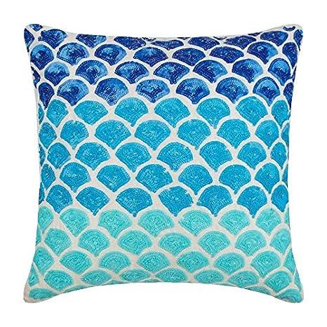 Azul Fundas para Cojines 40 x 40 cm, Seda de arte Fundas ...