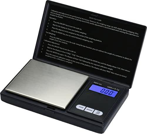 Smart Weigh SWS1KG Elite Series Digital Pocket Scale, 1000 by 0.1gm, Black