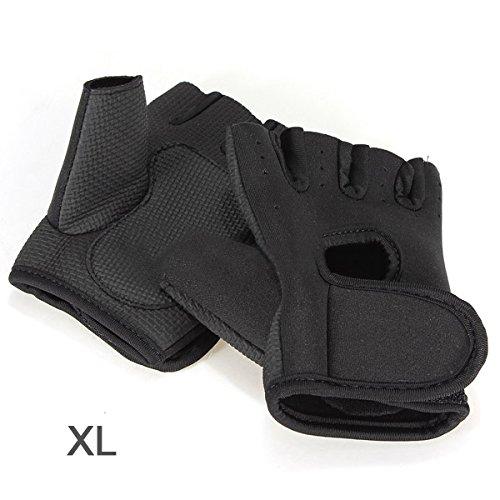 SODIAL(R)NOUVEAU Sport Cyclisme Fitness Gym moitie Gants Finger Halterophilie exercice d'entrainement - Noir XL