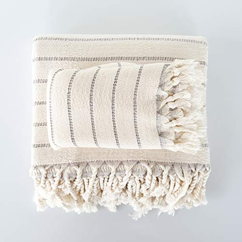 The Loomia Turkish Bath and Hand Towel Set of 2 - Deniz Handwoven Series Made of Bamboo and Cotton, Size XL, Cream Base with Grey Stripes