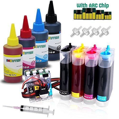 INKUTEN CIS CISS Continuous Ink Supply System for 252 252XL T 252 T252 XL T252XL with Extra 4x100ml for use in Workforce WF-3620, WF-3640, WF-7610, WF-7620, WP-7110, WF-5620, WF-5690, WF-5190 ()