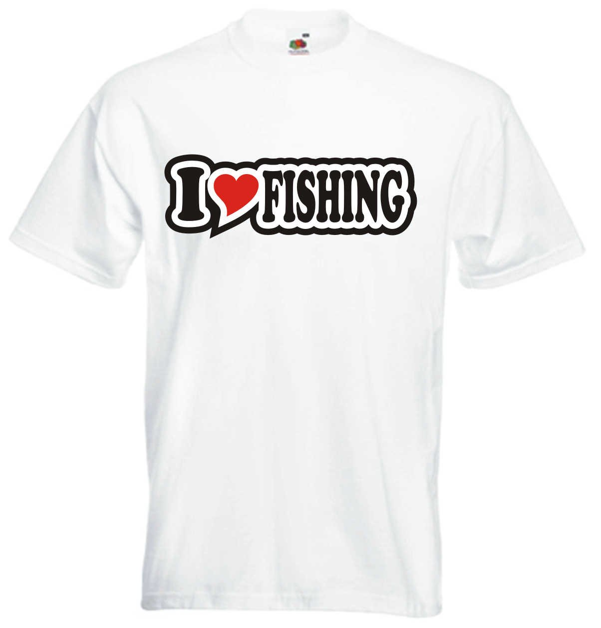 I Love Heart T-Shirt Men I LOVE FISHING Black Dragon
