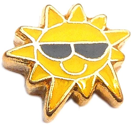 Sun With Sunglasses Floating Locket - Sunglasses Origami