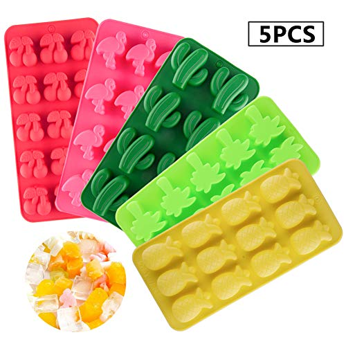 Set of 5 Summer Holiday Candy Making Molds Silicone Chocolate Including Cactus Flamingo Cherry Coconut Tree and Pineapple