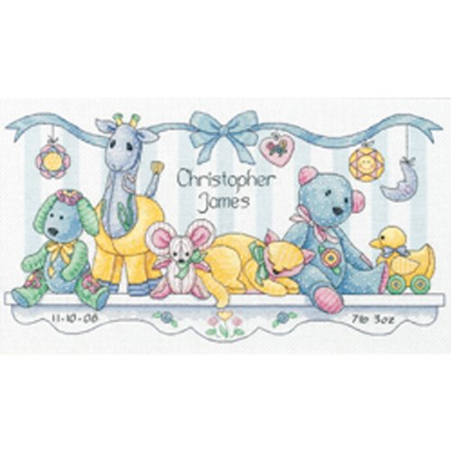 Brand New Baby Hugs Baby's Friends Birth Record Counted Cross Stitch K-14