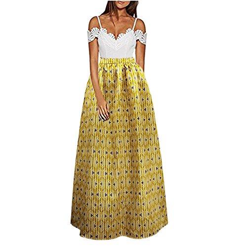 C.C-US Women African Floral Print A Line Maxi Skirt Pleated High Waist Beach Skirts with Pockets