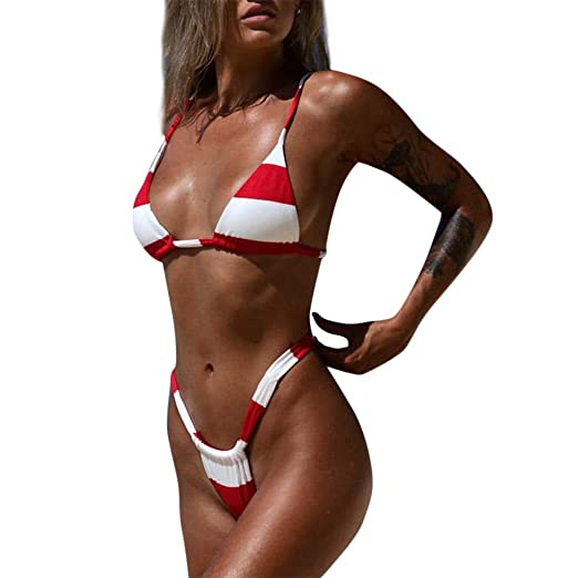 0a892a3b64c ZoePets Women's Three-Point Striped Skimpy Bikini Removable Padding Two-Piece  Swimsuit Set(