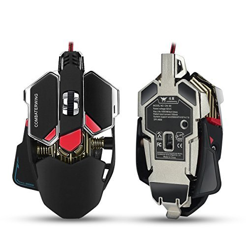 Combaterwing 4800 DPI Programmable Wired Gaming Mouse for PC MAC, Programmable 10 Buttons with Optical RGB LED Lights, Aluminium Base USB Game Mice for Gamer-Black (Best Gaming Mouse For Guild Wars 2)