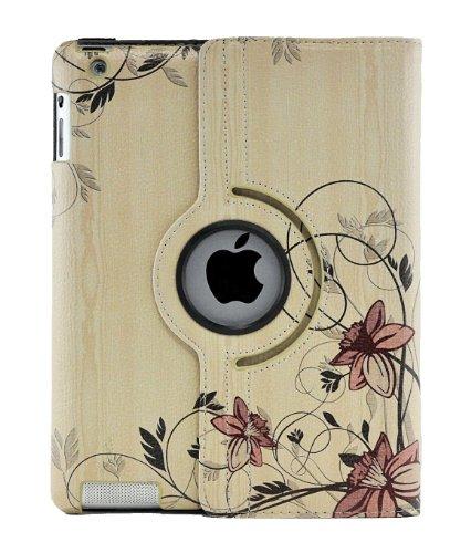 LiViTech(TM) Flower Painting Asian Art Design 360 Degress Rotating Smart Cover Case for Apple iPad 4 3 2 (iPad 4 3 2, L ()