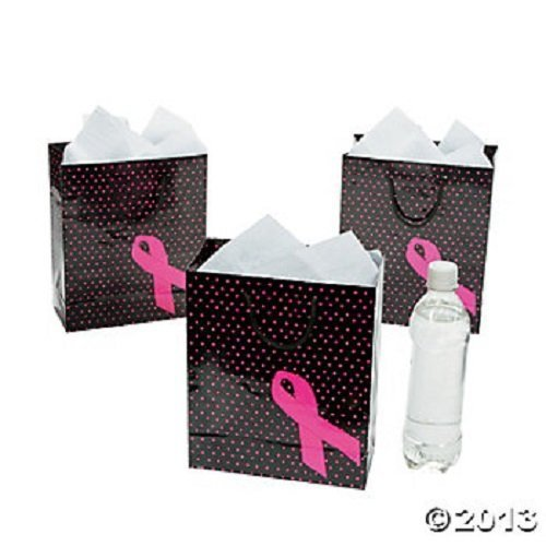 Lot of 12 Pink Ribbon Gift Bags Medium Size Breast Cancer Awareness Polka Dot