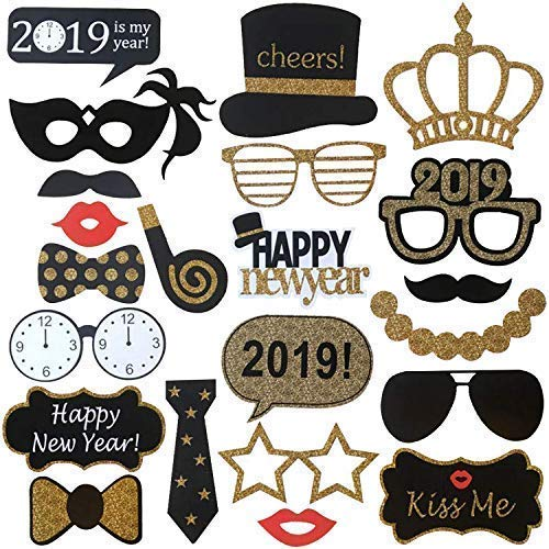 New Years Photo Booth Props- Pack of 25, Sturdy Cardstock | 2019 New Years Eve Photo Props Decorations Supplies | Great for Masquerade Themed New Year's Party Backdrop | Home Office Décor Accessories]()